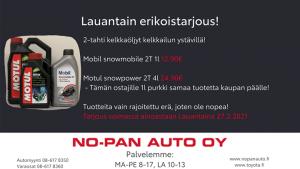 Hei kelkkailijat!  Meillä on lauantaina 27.2.2021 Kajaanissa kelkkaöljyt erikoistarjouksessa optimaaliselle kelkkailu säälle. Va...