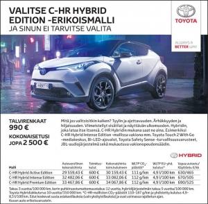 C-HR Hybrid Edition -mallisto nyt huippueduin. Tutustu samalla Varmoihin Vaihtoautoihimme Kajaanin ja Kuhmon No-Palla!