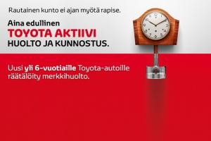 Uusi, yli 6-vuotiaille Toyota-autoille räätälöity merkkihuolto. Lisää tietoa osoitteessa: http://www.nopanauto.fi/ajankohtaista/uutiset/25915/toyota-aktiivi-huolto